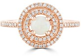 Effy Jewelry Effy Aurora 14K Rose Gold Opal and Diamond Ring, 0.67 TCW