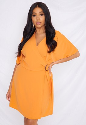 Missguided Plus Size Orange Wrap Buckle Side Dress