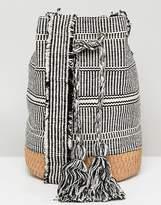 Pull&Bear tassle drawstring bag in gray