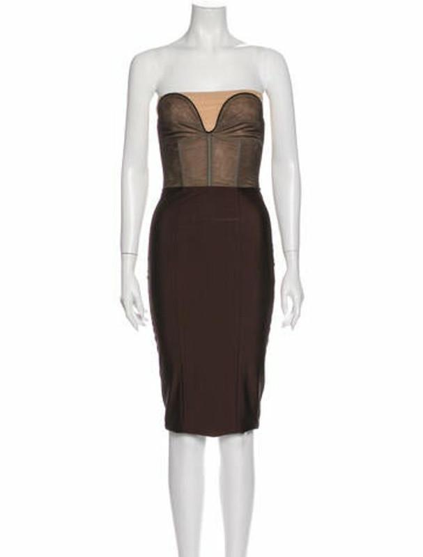 Thomas Wylde Strapless Mini Dress Brown