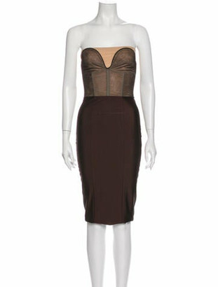 Thomas Wylde Strapless Mini Dress Brown