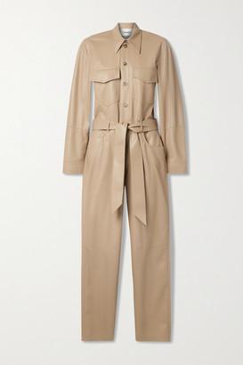 Nanushka Ashton Belted Vegan Stretch-leather Jumpsuit - Sand
