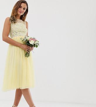 Maya Bridesmaid mesh top delicate sequin midi dress in lemon-Yellow