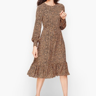 Talbots Soft Leopard Print Fit & Flare Dress
