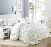 Chic Home 6 Piece Halpert Floral Pinch Pleat Ruffled Designer Embellished Comforter Set, King, White