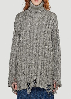 Balenciaga Distressed Turtleneck Cable-Knit Sweater