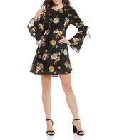 June & Hudson Floral-Printed Tie Bell Sleeve Shift Dress
