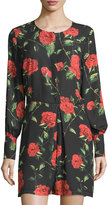 Neiman Marcus Rose-Print Long-Sleeve Short Jumpsuit, Black/Red