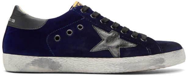 Golden Goose Blue Velvet Superstar Sneakers