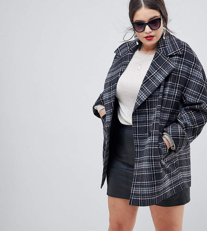 Helene Berman Plus Yummy Mummy Wool Blend Check Coat
