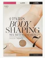 Marks and Spencer 2 Pair Pack 7 Denier Secret SlimmingTM Sheer Body Shaper Tights