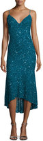Theia Sleeveless Beaded Midi Cocktail Dress, Peacock
