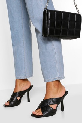 boohoo Quilted Cross Strap Square Toe Mules