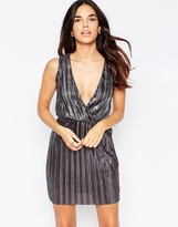 Oh My Love Wrap Over Pleated Metallic Mini Dress
