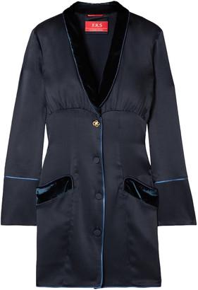 F.R.S For Restless Sleepers Techne Velvet-trimmed Satin Mini Dress