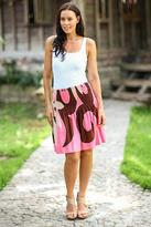 Floral Skirt Painted by Hand, 'Pink Summer Beauty'