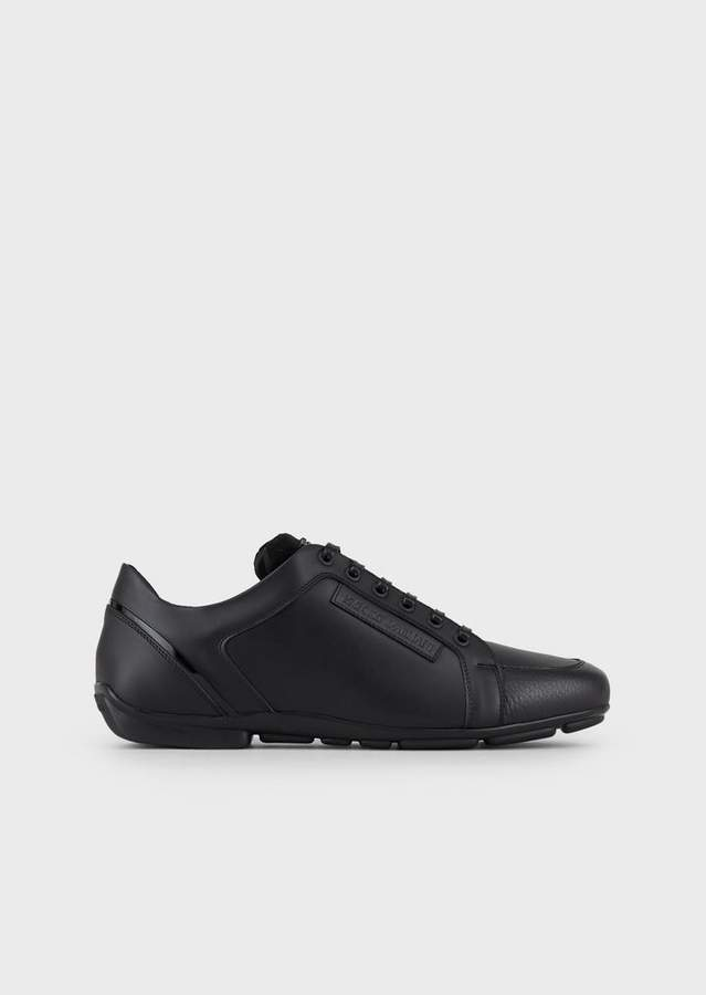 Emporio Armani Bottled Leather Sneakers