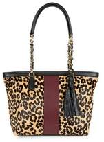 IMNYC Isaac Mizrahi Suede and Leather Leopard Tote