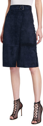 Akris Suede Mock-Wrap Skirt with Trapezoid Buckle
