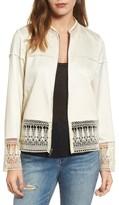 Hinge Women's Lace Trim Bomber Jacket