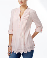 Style&Co. Style & Co Petite Eyelet-Hem Pleated Top, Only at Macy's