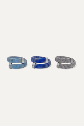 Carolina Bucci Caro Set Of Three Blackened White Gold-plated, Lurex And Cotton Bracelets - one size