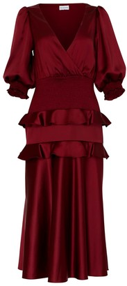 True Decadence Burgundy Satin V-Neck Midi Dress
