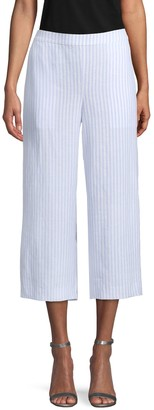 Saks Fifth Avenue Striped Cropped Linen Pants
