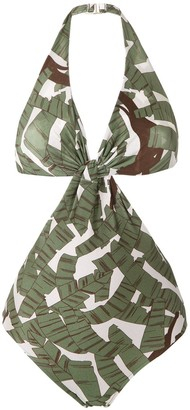 Adriana Degreas Printed Cut Out Swimsuit