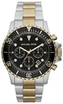 Michael Kors 8311 Chronograph Two-Tone Black Dial Stainless Steel Mens Watch