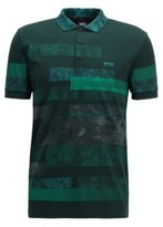 HUGO BOSS - Regular Fit Polo Shirt With Abstract Pattern - Open Green