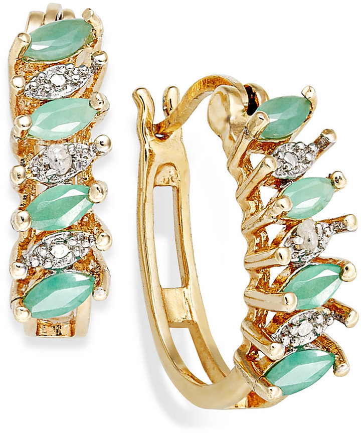 Townsend Victoria 18k Gold over Sterling Silver Earrings, Emerald (3/4 ct. t.w.) and Diamond Accent Marquise Hoop Earrings
