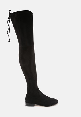 Missguided Black Faux Suede Over The Knee Flat Boots