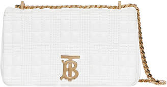 Burberry Small Soft Leather Crossbody Bag in White   FWRD