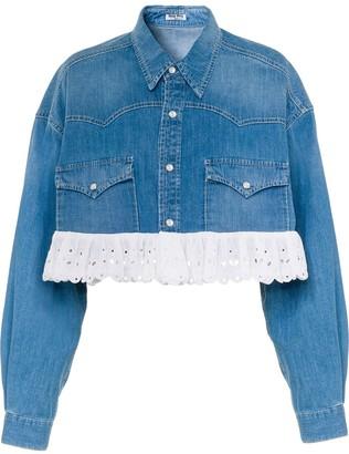 Miu Miu Embroidered Hem Cropped Denim Jacket
