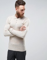 Asos Muscle Fit Knitted Polo in Merino Wool