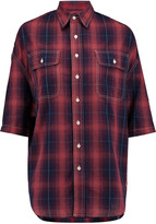 R 13 Oversized checked cotton and linen-blend shirt