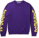 SASQUATCHfabrix. Iroha Distressed Fleece-back Cotton-blend Jersey Sweatshirt - Purple