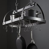 Crate & Barrel Enclume ® Hammered Steel Oval Hanging Pot Rack