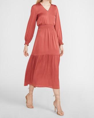 Express Satin Tiered V-Neck Maxi Dress