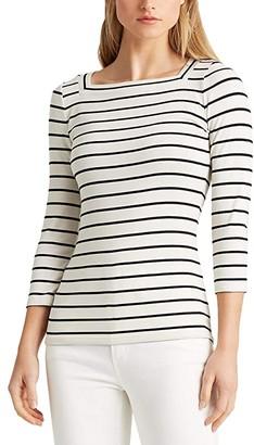 Lauren Ralph Lauren Striped Cotton Blend Top (Mascarpone Cream/Polo Black) Women's Clothing