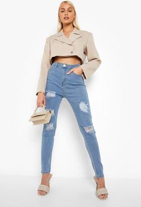 boohoo High rise Super distressed Skinny Jeans