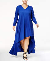 Monif C Trendy Plus Size High-Low Crepe Dress