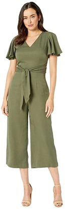 Tahari ASL Flutter Sleeve Side Tie Jumpsuit (Olive) Women's Jumpsuit & Rompers One Piece