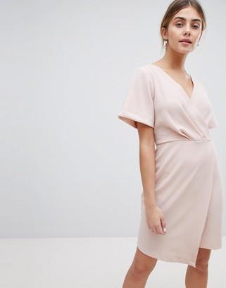 Closet London Wrap Front Mini Shift Dress-Pink