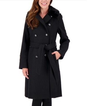 Vince Camuto Faux-Fur-Collar Double-Breasted Belted Coat