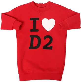 DSQUARED2 Love D2 Printed Cotton Sweat Dress