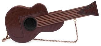 Moschino Guitar Snakeskin-Embossed Leather Shoulder Bag