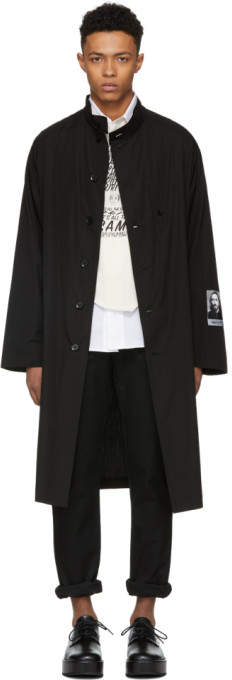 Yohji Yamamoto Black Stand Collar Long Coat