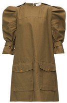 Alexander McQueen Puff-sleeve Cotton-canvas Cargo Dress - Womens - Khaki